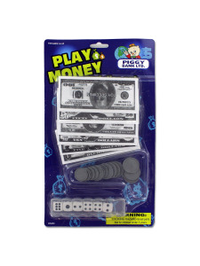 Set of play money with dice