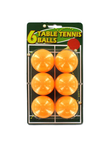 Set of six table tennis balls