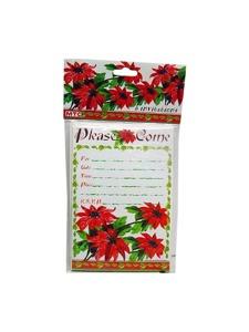 poinsettia 8 pack invitations/envelopes