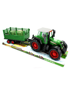 Friction action toy tractor with trailer