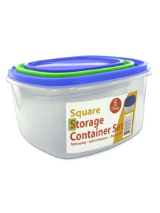 3 Pack square storage container set sith lids