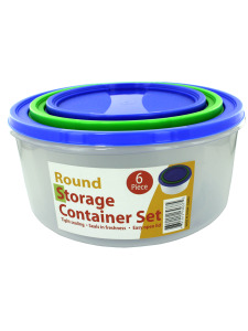 3 Pack round storage container set with lids