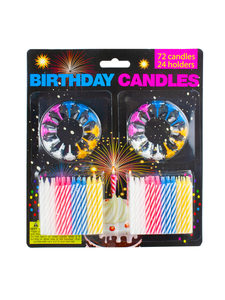 Large set birthday candles (72 candles, 24 holders)