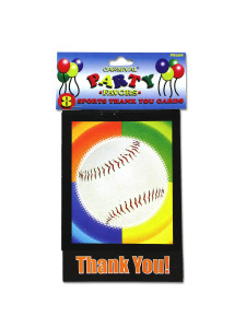 thank you cards sports themed (8 per pack)