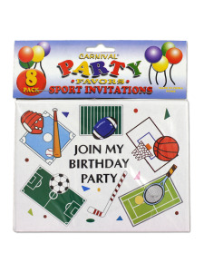 birthday party invitation sports themed (8 per pack)