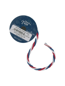 twisted red/royal/white tulle cord 6 foot spool