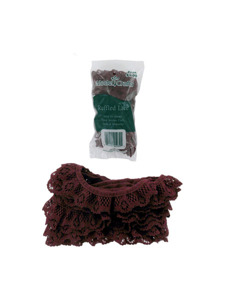 cranberry 4 yard ruffled edge lace in bag