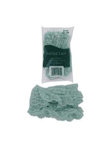 seafoam green 1.125 inch x 4 yard ruffled edge lace in bag