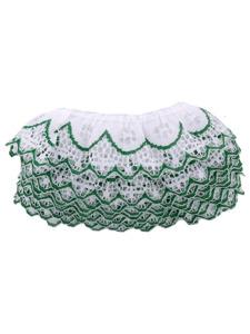 white/green 4 yard ruffled edge lace in bag