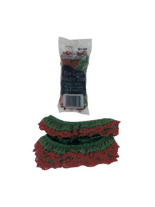 red/green ruffled lace novelty trim 3 yard in bag