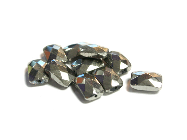 12MM Silver Rec. Faceted Glass Bead