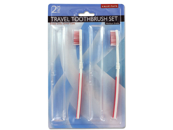 Travel toothbrushes with holders