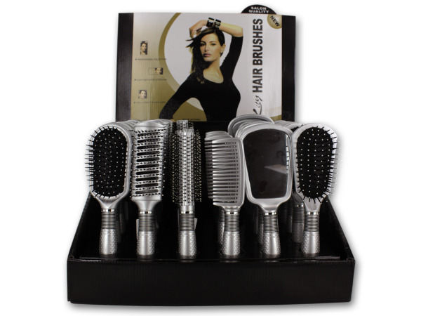 Silver hair brushes and hand mirrors