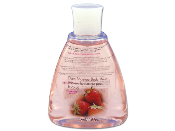 Travel size strawberry scented body wash