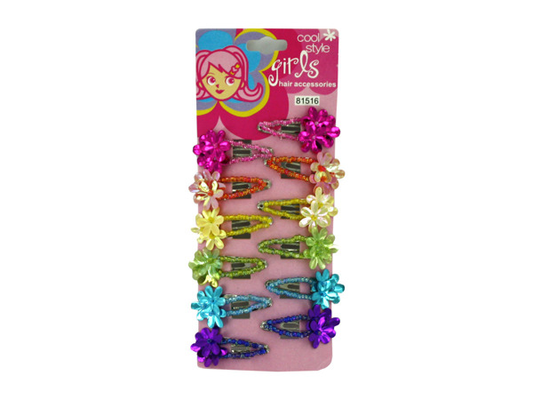 12-pc colored flower hair clips
