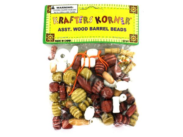 Wood barrel beads with string