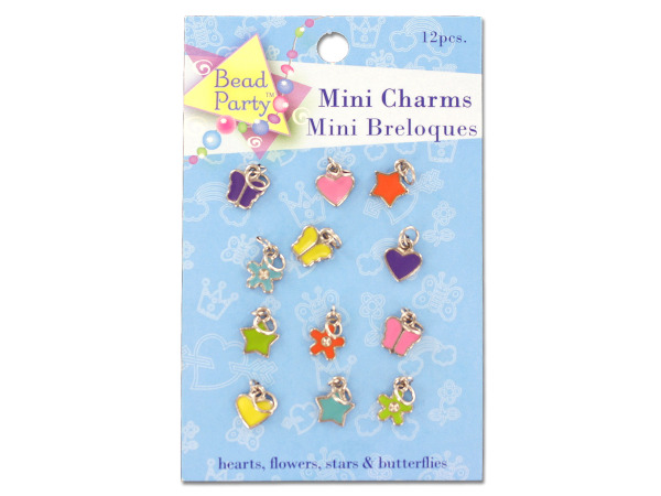 12 piece mini charms hearts, flowers, stars, butterflies