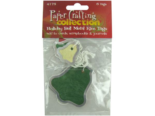 Holiday bell metal rim tags