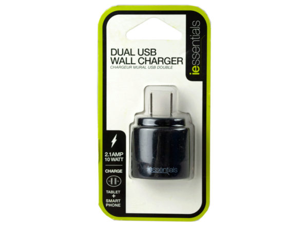 iEssentials Black Dual USB Wall Charger