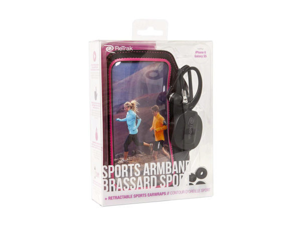 Pink Armband Retractable Sports Wrap Earbuds