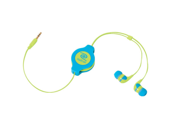 Retractable Neon Blue and Yellow Earbuds