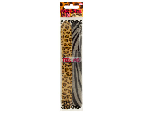 Brown Furry Animal Print Nail File & Buffer Set