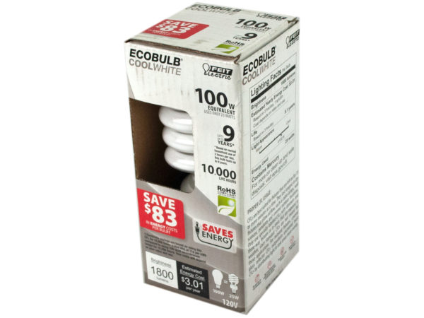 EcoBulb CFL Twist Non-Dimmable 25 Watt Light Bulb 100 W Equi