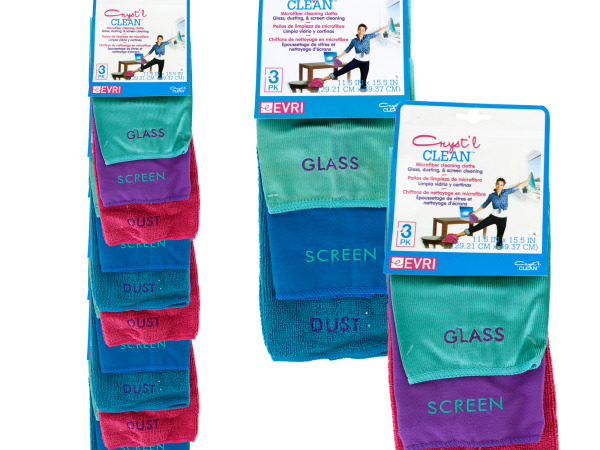 Cryst'l Clean Microfiber Cleaning Cloths Clip Strip