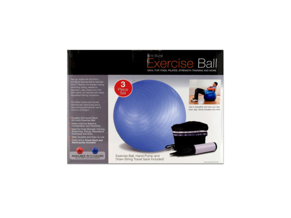 StarSun Depot Wholesale Exercise Ball With Pump - Set of 1, [Sporting Goods, Exercise Equipment]