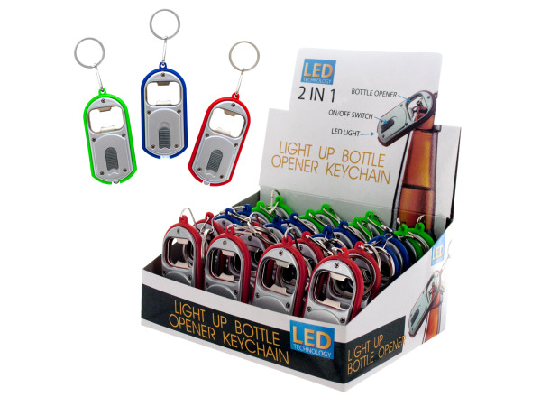 2-in-1 Light-Up Bottle Opener Keychain Countertop Display