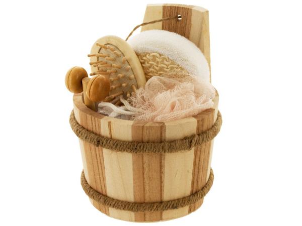 Bath Set in Wood Barrel