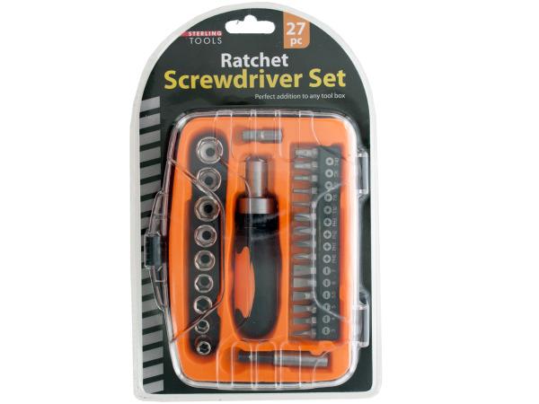 27-Piece Ratchet Screwdriver Set with Organizer Case