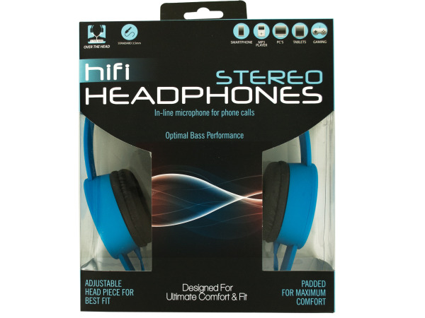 Adjustable Stereo Headphones with In-Line Microphone