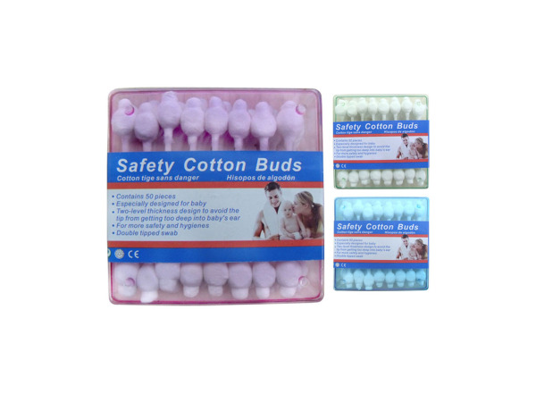 Cotton buds, assorted colors, pack of 50