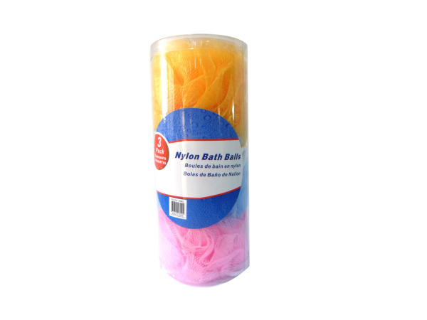 Nylon bath scrubbies, pack of 3