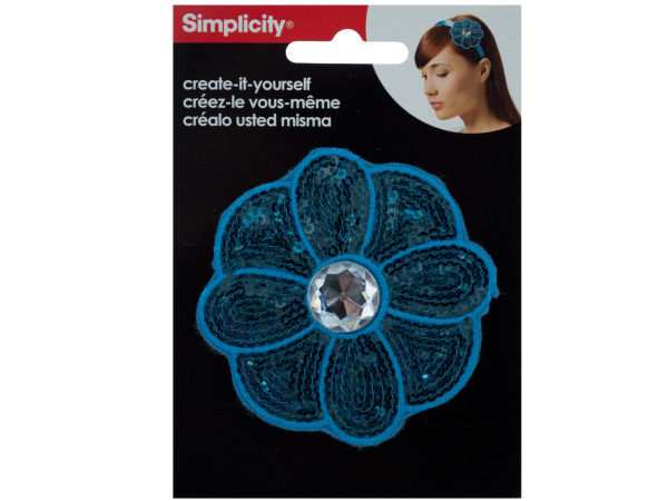 Blue Sequin Flower with Jewel Headband Accent