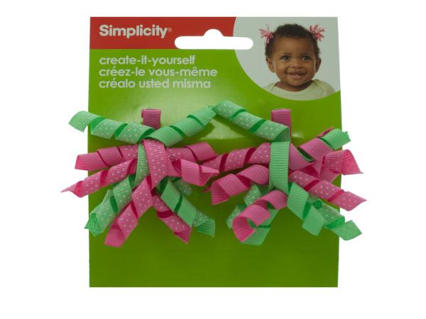 simplicity 2 piece mini green/pink korker hair clips