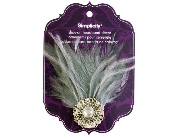 simplicity jewel/gray feather slide on headband accent