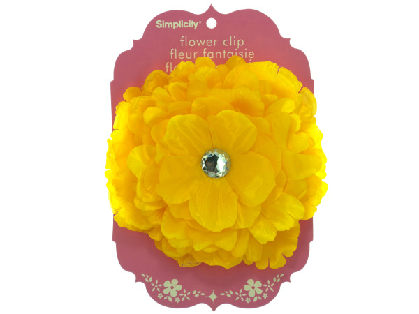 Large Yellow Flower with Jewel Clip