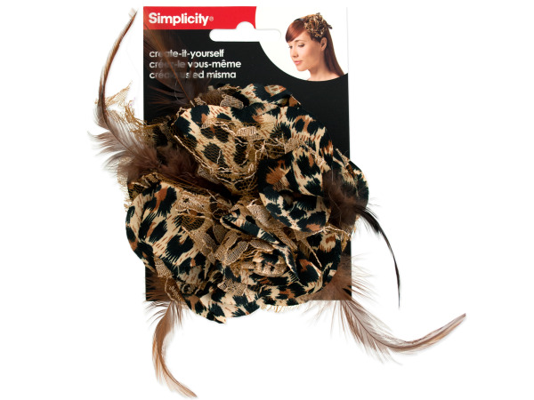 Leopard Flower with Feathers & Lace Headband Accent