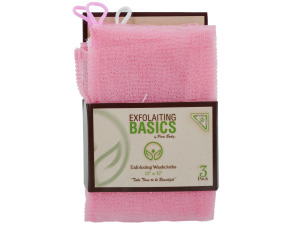 3 pack 12 x 12 inch exfoliating washcloths pink