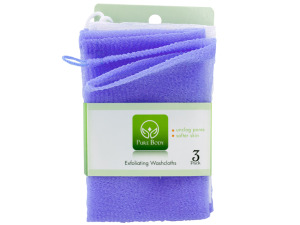 3 pack 12 x 12 inch exfoliating washcloths lavender
