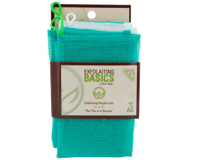 3 pack 12 x 12 inch exfoliating washcloths melon green