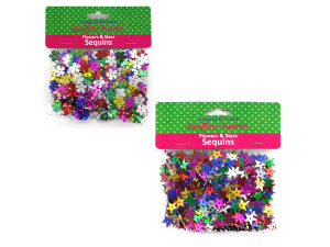 Floral and star sequins, assorted colors