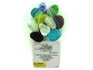 Decorative colored stones, mesh bag in assorted colors