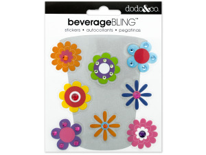 Flowers Beverage Bling Stickers