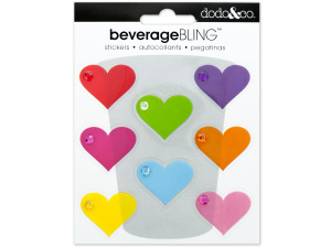 Simple Hearts Beverage Bling Stickers
