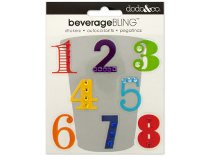 Numbers Beverage Bling Stickers
