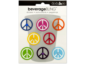 Peace Signs Beverage Bling Stickers