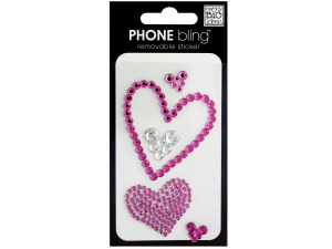 Hearts Phone Bling Removable Stickers